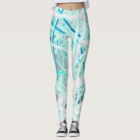 White and blue abstract pattern leggings