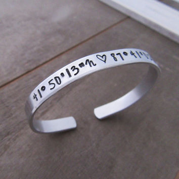 GPS Coordinates Bracelet - Personalized Gift For Her - Long Distance Relationship - Location Jewelry