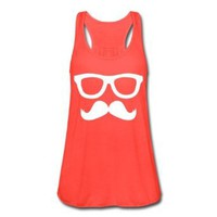 Amazon.com: Spreadshirt, Mustache and Glasses, Women's Flowy Tank Top by Bella: Clothing