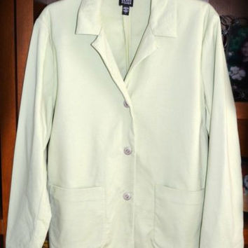 Eileen Fisher Sz Large Green Blazer Jacket Coat Snap Front Pockets Cotton Blend