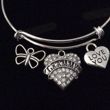 Grammy I Love You Mothers Day Special Expandable Charm Bracelet Silver Adjustable Bangle Trendy Mom Grandmother Grandma Gift