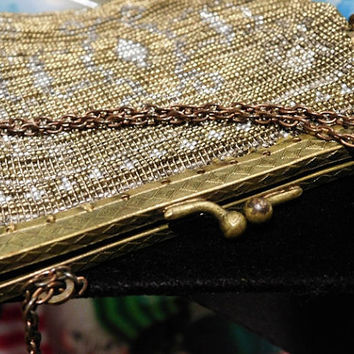 Antique French Steel Cut Beaded Bag Art Deco 1920s 20s Flapper Purse Evening Handbag Made in France Wedding Prom Gatsby Estate Heirloom