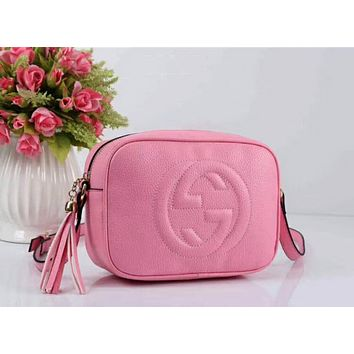 Gucci Stylish Ladies Shopping Leather Tassel Zipper Shoulder Bag Crossbody Satchel Pink I-LLBPFSH