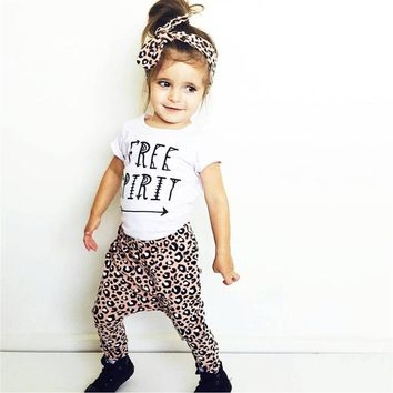 Summer 2018 New Baby Girl Leopard Clothes Fashion T-shirt+Pants+Headband Kids Toddler 3 Pcs Suit Newborn Baby Girls Clothes