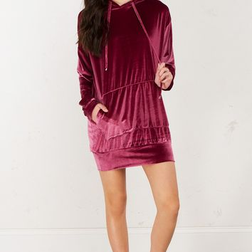 Velvet Sweater Dress in Grey and Rose