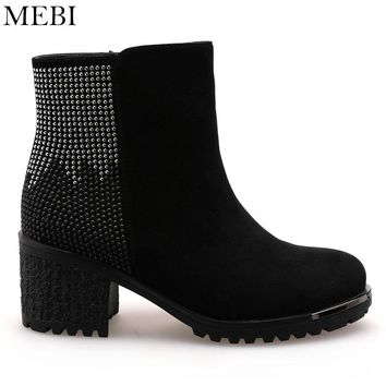 MEBI Ankle Boots Kid Suede Women Shoes Warm Fur Winter Snow Boots Women Beading Shoes Quality Wool Footwear Square Heel
