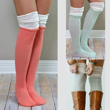 Warm Thigh High Over The Knee Socks, Long Cotton Stockings