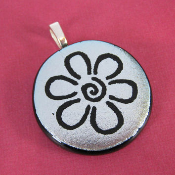 Silver Fused Dichroic Glass Pendant, Hand Etched Flower Pendant - Daisy Mae by mysassyglass