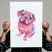"Pug dog high quality art print, hot pink ""Pugberry"", size A3"