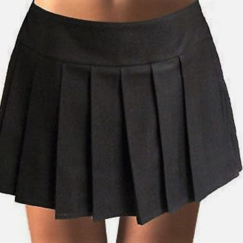 Solid Black Pleated Skirt~Black Skirt Tennis Skirt~Cosplay Black Skirt~Custom make School Girl Black Skirt~Small to Plus size@sohoskirts