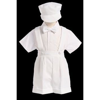 Boys White Suspender Shorts Set w. Newsboy Cap 3M-4T