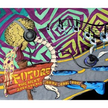 Punk art print, music art, recording studio, brain, headphones, 8 x 10
