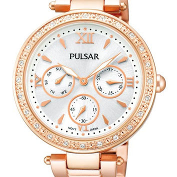 Pulsar Ladies Night Out Watch  - Swarovski Crystals - Rose Gold - Subdials