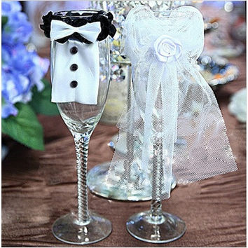 Wedding Decoration Christmas Wedding Party Decoration Couple of Bridegroom Bride Type Wineglass Cover wedding favors gifts (Size: 1) [7982965383]