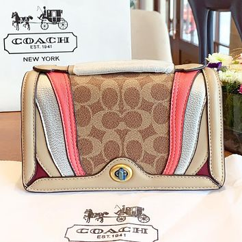 COACH Fashion New pattern leather shopping leisure crossbody bag shoulder bag