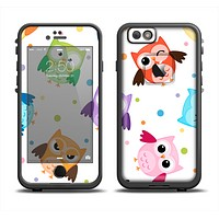 The Cartoon Emotional Owls with Polkadots Apple iPhone 6 LifeProof Fre Case Skin Set