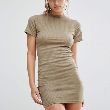 Daisy Street Bodycon T-Shirt Dress In Rib at asos.com