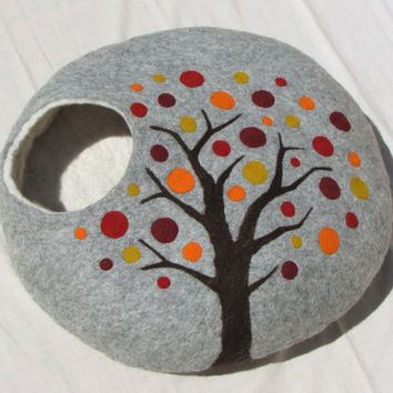 L - Handmade felt cat bed / cat cave / cat house / cat basket / Nuno Felted merino wool with CATNIP - Autumn tree - Gift ball