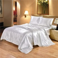 2/3pcs Duvet Cover Sets White and Black Color Satin Silk Bedding Summer Jacquard Bedding Sets For Queen King Size Bed