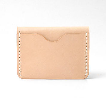 Personalized Leather Business Card Holder, Minimal Bi-fold Wallet, 3 Slots, Handmade Hand-stitched, Natural Tan