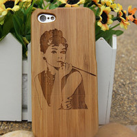 Wooden Phone Cases for Iphone 4/4S/5/5S Samsung S3/S4,New personalized Audrey Hepburn wood iphone 5s cases,iphone cover,eco friendly cases