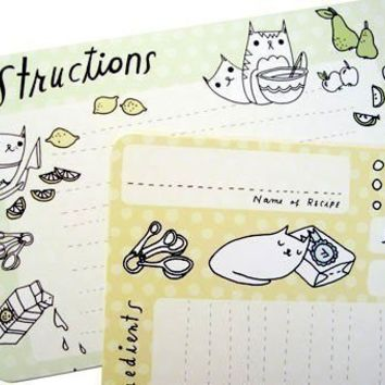 CAT Recipe Cards (set of 10) -  unique kawaii cute kitty cat kitten illustrations - 4x6 gift for vegan/mom/chef