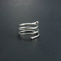 Modern Sterling Silver Ball Tip Coiled Thumb Ring Made in Your Size