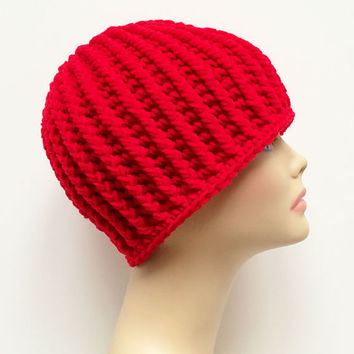 FREE SHIPPING - Crochet Ribbed Beanie Hat - Unisex - Red