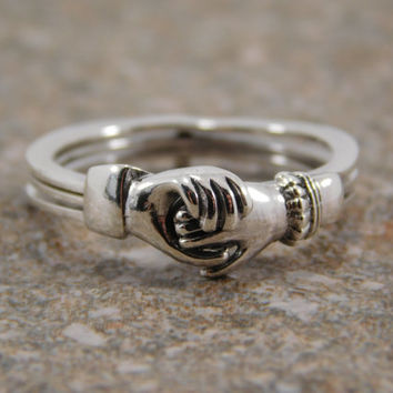 Sterling Silver 3 pc Claddagh Puzzle Ring / Claddagh Ring / Promise Ring / Engagement Ring / Friendship Ring