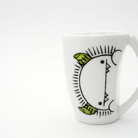 Silly monster with green horns espresso cup and saucer