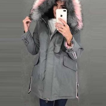 New Grey Patchwork Fur Zipper Pockets Drawstring Button Hooded Long Sleeve Casual Coat