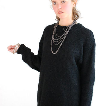 Black Mohair Sweater Vintage Black Oversized Slouchy Mohair Modern Androgynous Wool Sweater (s m l)