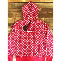 Supreme Louis Vuitton Supreme Red/White Monogram Hoodie F