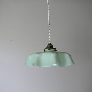 Romantic French Antique Opaline Glass Ceiling Pale Green