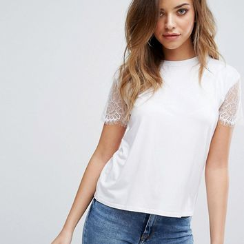 PrettyLittleThing Lace Sleeve T-Shirt at asos.com