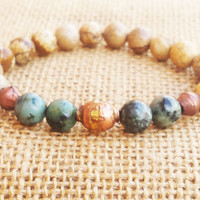 African Trade Brass Bead Bracelet Ethnic Tribal African Gemstones Bead Bracelet Turquoise Bracelet Healing Stones Yoga Mala Natural Stones