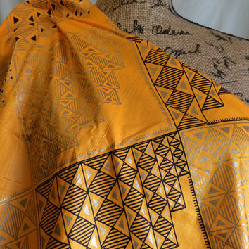 African Diamond and Pyramid Print Fabric by the HALF YARD--Golden Yellow with Gold Ink--Made in Mali