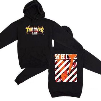 DCCKUNT Thrasher Vlone Off White Unisex Long Sleeve Hoodies Sweater