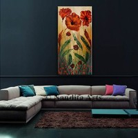 """Abstract Tulip Flower Painting 48"""" Large Canvas Art Original Painting, Abstract Oil Painting Red Flowers Gift for Mom, Wife Gifts For Her"""