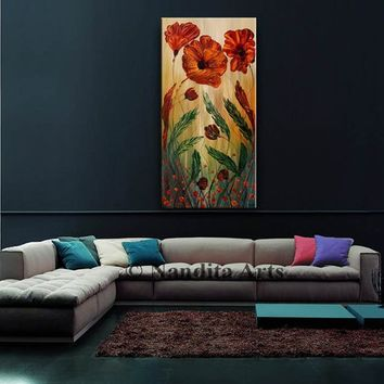 "Abstract Tulip Flower Painting 48"" Large Canvas Art Original Painting, Abstract Oil Painting Red Flowers Gift for Mom, Wife Gifts For Her"