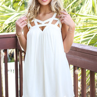 City Lights Vanilla Dress With Cutout Detail Restock
