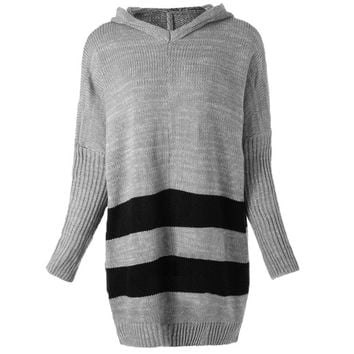 Casual Hooded Striped Loose-Fitting Long Sleeve Women's Sweater