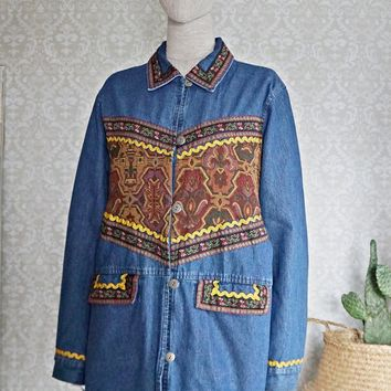 Vintage 1980s Tapestry + Denim Chore Jacket