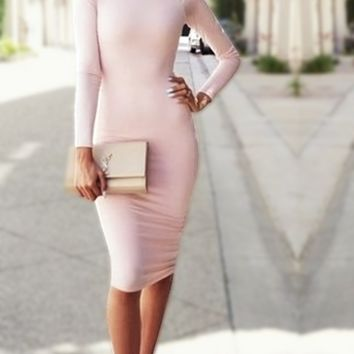 White Long-Sleeve Bodycon Dress