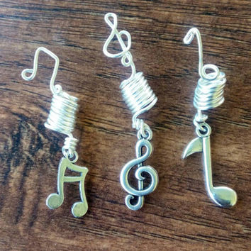 Set of three silver tone music note musician loc accessory  dreadlock adornment dread bead charm hair falls