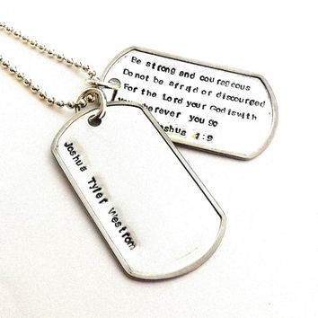 Double Or Triple Or Four Tag Personalized Stainless Steel Military Size Double Dog Tag Necklace With Stainless Steel Chain