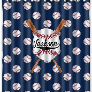 Baseball Personalized Shower Curtain - Choose your team color