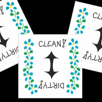 Refrigerator Magnet Dishwasher Clean, Dirty Sign - Pack of  three, status of dishes, blue flowers