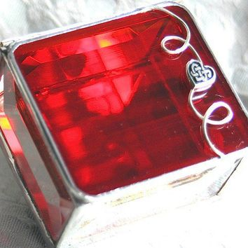 Fiery Red 2x2 Stained Glass Jewelry Box Ring Box w/ by GaleazGlass
