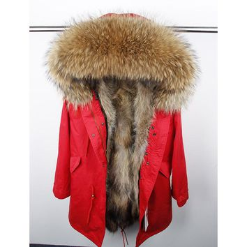 Natural fur lining parka Silver pu coat real fur coat winter jacket women natural raccoon fur collar warm thick parkas